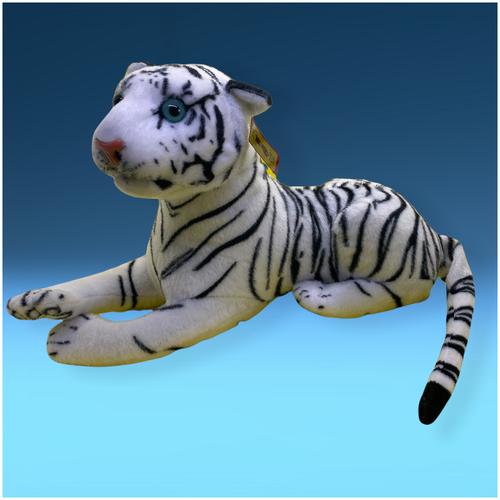 Мягкая игрушка Тигр белый реалистичный 35 см. (Тигр символ 2022 года)
