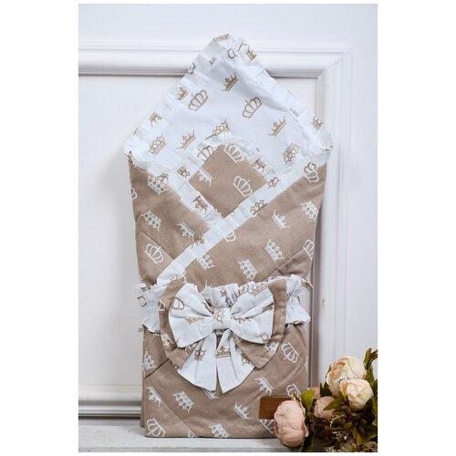 Купить Конверт-одеяло Amarobaby Happy 93 см короны коричневый, Конверты и спальные мешки