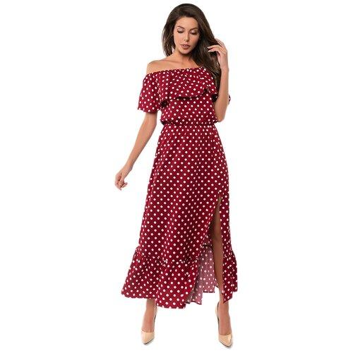 Платье сарафан в горох, открытые плечи с воланом, юбка колокольчик с воланом, бордовый цвет, размер XS