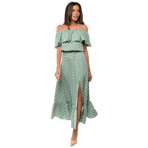 Платье сарафан в горох, открытые плечи с воланом, юбка колокольчик с воланом, зеленый цвет, размер XS