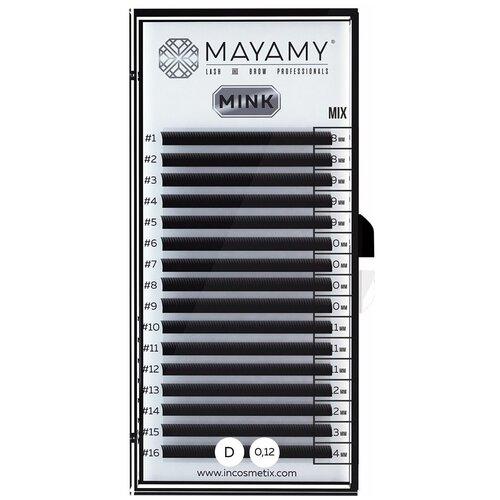 Innovator Cosmetics Ресницы MAYAMY MINK 16 линий D-изгиб 0, 12 мм MIX черный  - Купить
