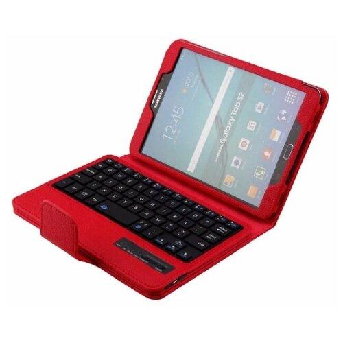 Клавиатура MyPads для Samsung Galaxy Tab S2 8.0 / T715 съемная беспроводная Bluetooth в комплекте c кожаным чехлом и пластиковыми наклейками с русскими буквами