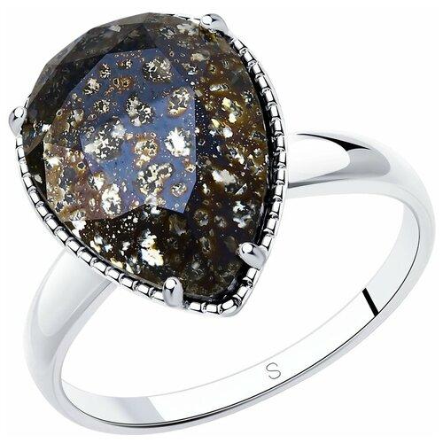 Фото - SOKOLOV Кольцо из серебра с чёрным кристаллом 94012037, размер 19.5 sokolov кольцо из серебра с чёрным кристаллом swarovski 94012037 размер 19 5