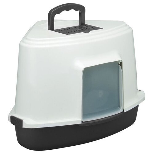 Туалет для кошек TRIOL LB03 закрытый угловой (совок в комплекте), темно-серый, 56,5х42,5х40см