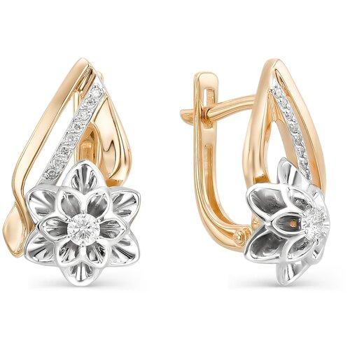 АЛЬКОР Серьги Цветы с 18 бриллиантами из красного золота 22547-100 алькор серьги цветы с 2 бриллиантами из красного золота 23613 100