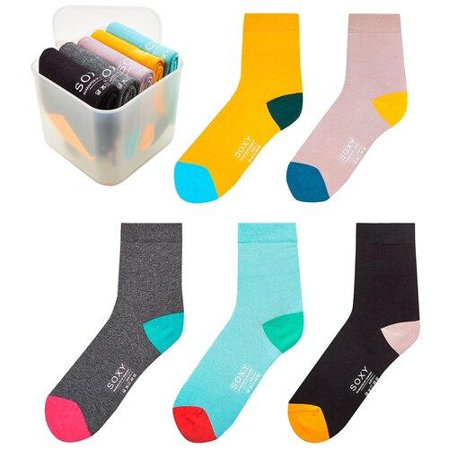 Женские классические всесезонные носки Soxy / комплект 5 пар в пластиковом боксе