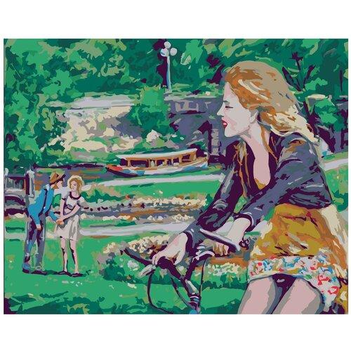 Прогулка на велосипеде Раскраска картина по номерам на холсте