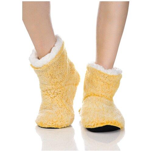 Плюшевые носки домашние, окраска меланж, противоскользящая подошва, внутренний подклад из искусственного меха, желтый-белый цвет, размер 36-38