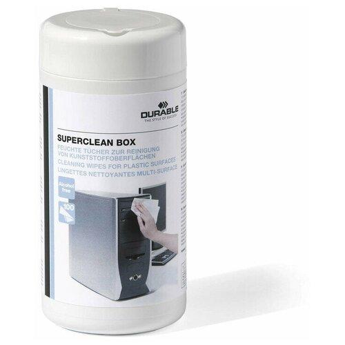 Фото - Салфетки для пластиковых поверхностей DURABLE SUPERCLEAN, в тубе, 100шт./уп. антибактериальные салфетки для поверхностей nv office мягкая упаковка 180х110 мм 15шт