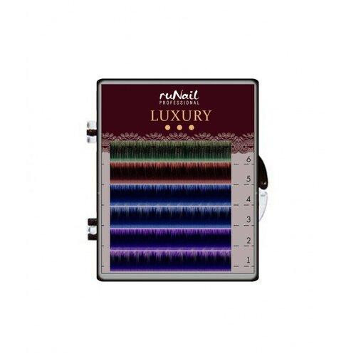 Купить RuNail, Luxury - ресницы для наращивания (Ø 0, 15 мм, №12, Mix С (зеленый, красный, синий, фиолетовый, Runail Professional