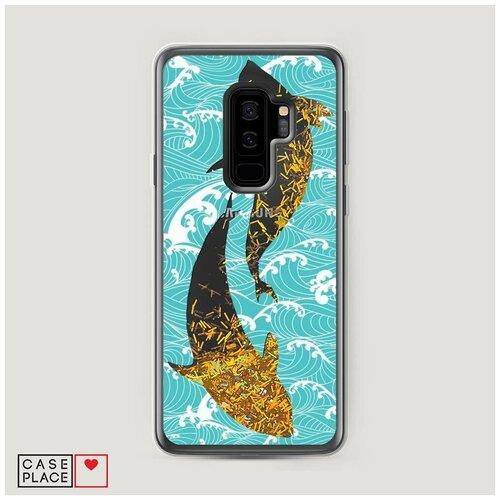 Чехол Жидкий с блестками Samsung Galaxy S9 Plus Два сома