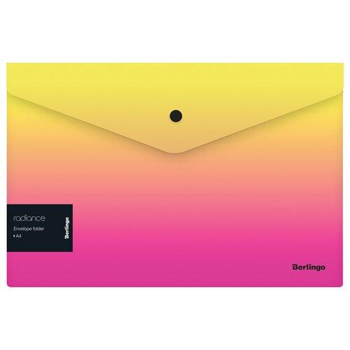 Купить Berlingo Папка-конверт на кнопке Radiance А4, пластик, 12 шт. желтый/розовый, Файлы и папки
