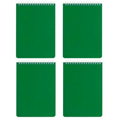 Купить Блокнот А5 (146х205 мм), 60 л., гребень, перфорация на отрыв, лакированный, BRAUBERG, Зеленый, 111272 (4 штуки) 111272-4, Блокноты и записные книжки