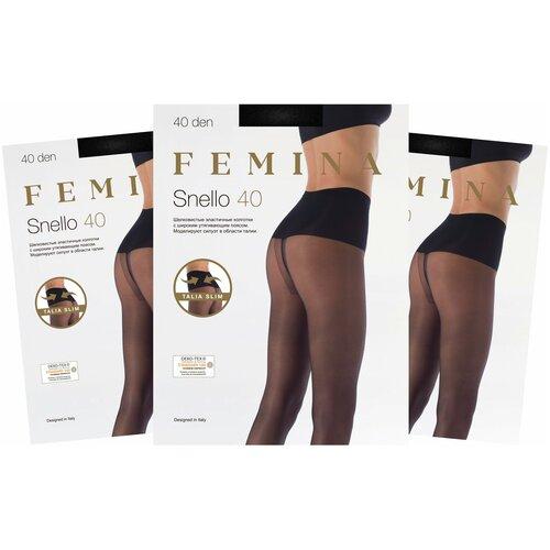 Женские колготки Femina, Snello 40 den с утягивающим поясом, набор 3 шт.,черный, размер 2