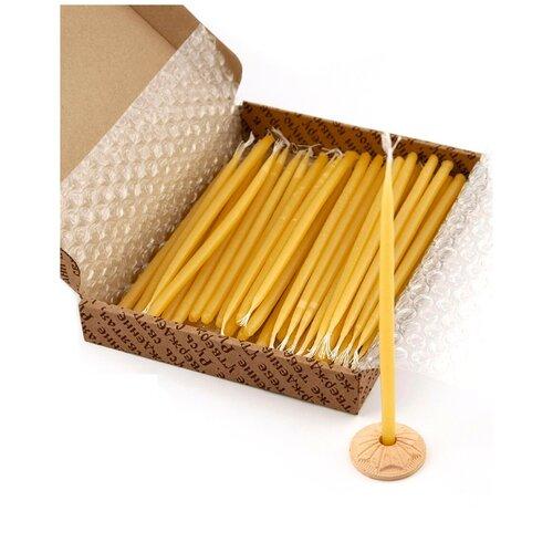 Свечи сорокоустные, парафин, 40 шт (в картонной коробке, с гипсовым подсвечником)/Подарочный набор свечей/Церковные православные свечи