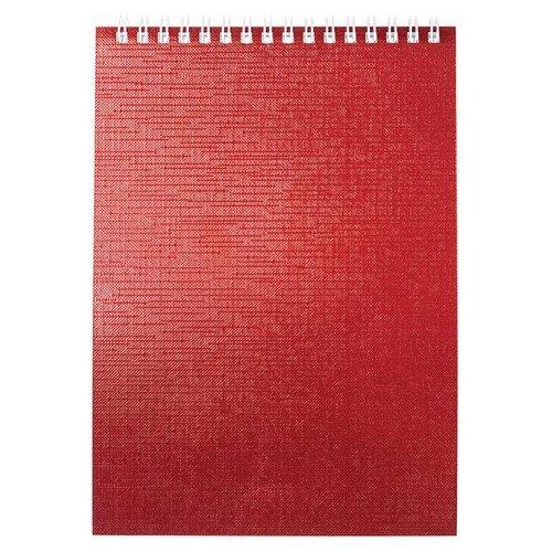 Купить Блокнот А5 (146х205 мм) 80 л., гребень, бумвинил, клетка, HATBER, METALLIC Красный, 80Б5бвВ1гр, 6 шт., Блокноты и записные книжки