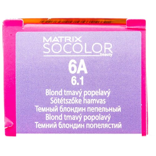 Купить Matrix Socolor Beauty стойкая крем-краска для волос, 6A темный блондин пепельный, 90 мл