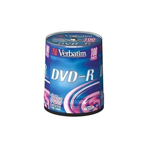 Фото - Диск DVD-R Verbatim 4,7Gb 16x Cake Box (100шт) 43549 диск dvd r verbatim 4 7gb 16x cake box 50 штук printable 43512