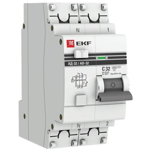 Фото - Дифференциальный автомат EKF АД-32 2П 30 мА C 4.5 кА AC электронный 32 А дифференциальный автомат ekf ад 4 4п 30 ма c 4 5 ка ac электронный 40 а