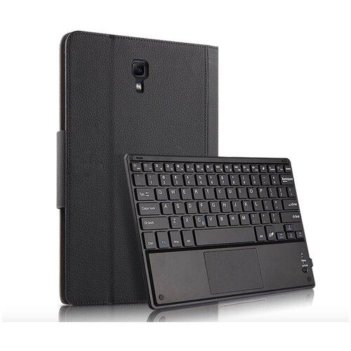 Клавиатура Mypads для Samsung Galaxy Tab A 10.5 SM-T590 (2018) / SM-T595 (2018) съёмная беспроводная Bluetooth в комплекте c кожаным чехлом и пластиковыми наклейками с русскими буквами