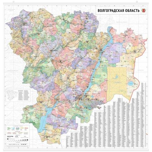 Настенная карта Волгоградской области 150x150 см (с подвесом)