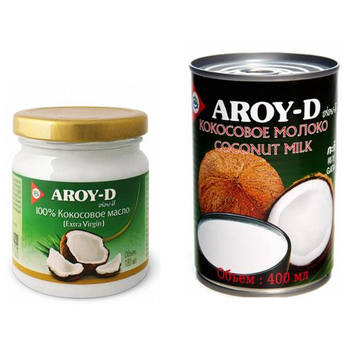 Фото - Набор Aroy-D: Кокосовое масло 100% Extra virgin, 180 мл - 1шт., Кокосовое молоко, 400 мл - 1 шт. aroy d масло 100% кокосовое extra virgin 0 18 л