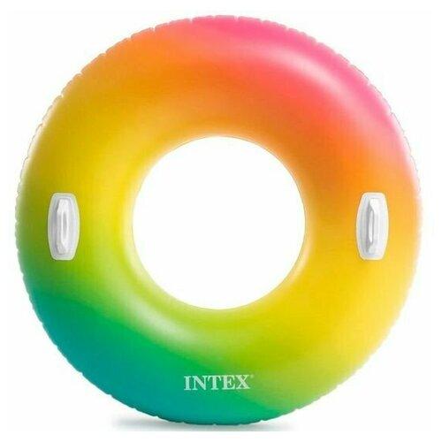 Фото - Надувной круг 122см Цветной Вихрь с ручками, до 100кг, от 9 лет надувной круг intex river rat 122см от 12лет 68209