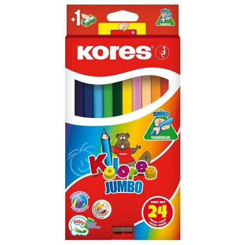 Карандаши цветные 24 цв.Kores Kolores Jumbo,трехгр, 5 мм, с точилкой, 93524