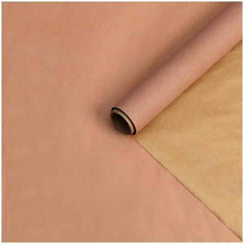 Бумага упаковочная тишью двухстороняя, коричневая-золотая, 0,6 х 10 м