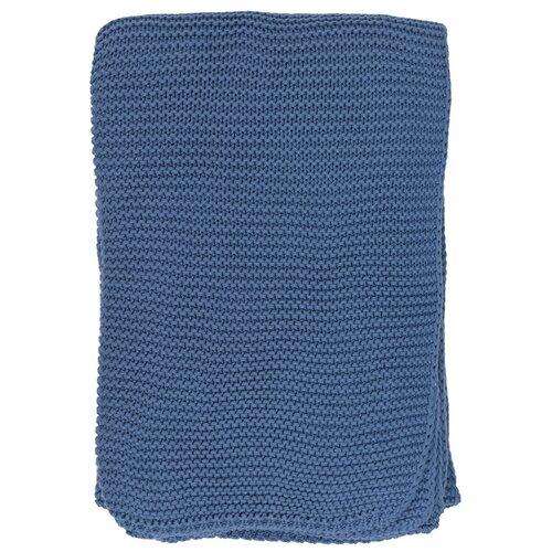 Плед из хлопка жемчужной вязки пыльно-голубого цвета из коллекции Essential, 130х180 см
