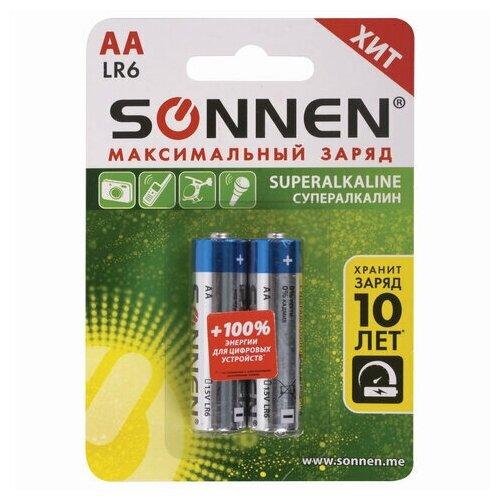 Батарейки комплект 2 шт., SONNEN Super Alkaline, АА(LR6,15А), алкалиновые, пальчиковые, в блистере, 451093