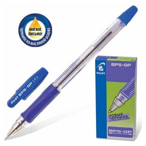 Фото - Ручка шариковая масляная с грипом PILOT BPS-GP, синяя, корпус прозрачный, узел 0,7 мм, линия письма 0,32 мм, BРS-GP-F, (12 шт.) ручка шариковая pilot bps gp fine синяя 0 7 мм