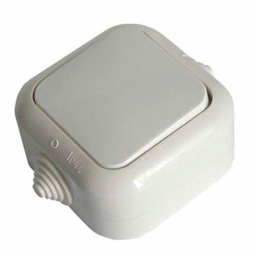 Выключатель SVET одноклавишный открытая установка белый IP44