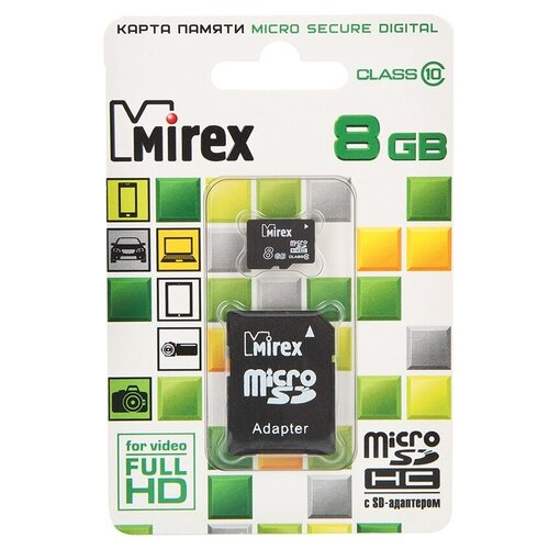 Фото - Карта памяти 8Gb - Mirex - Micro Secure Digital HC Class 10 13613-AD10SD08 с переходником под SD (Оригинальная!) карта памяти 8gb mirex micro secure digital hc class 10