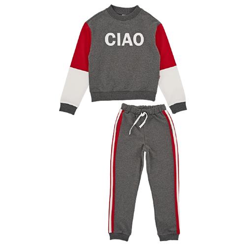 Спортивный костюм Mini Maxi размер 128, графит/меланж/красный