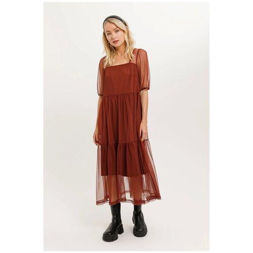 Платье Sela, размер S, терракот/кирпичный