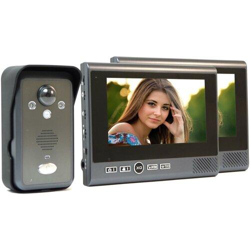 Беспроводной видеодомофон Настольный REC KiVOS 7 (1плюс2), домофон электромеханический замок, домофон цветной подарочная упаковка