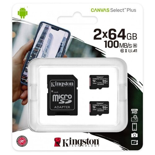Фото - Карта памяти Kingston Canvas Select Plus microSDXC, 2 шт, SDCS2/64GB-2P1A карта памяти 512gb kingston canvas select plus microsdxc u