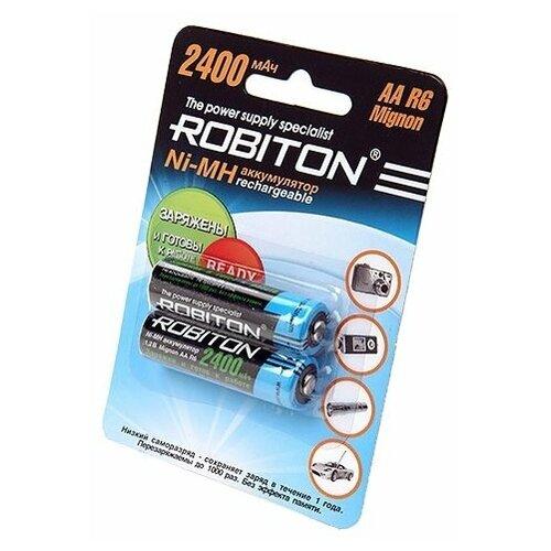 Фото - Аккумулятор Ni-Mh 2400 мА·ч ROBITON AA R6 Mignon 2400, 2 шт. аккумулятор ni mh 200 ма·ч robiton 9v крона 6f22 200 1 шт