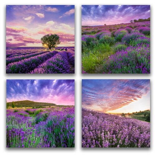 Комплект картин на холсте LOFTime 4 шт 30Х30 лавандовые поля 2 К-046-3030