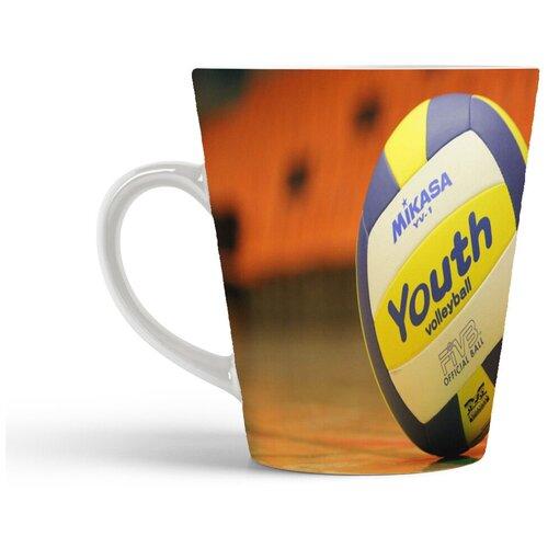 Кружка-латте CoolPodarok Волейбол Волейбольный мяч Спорт Синий Желтый