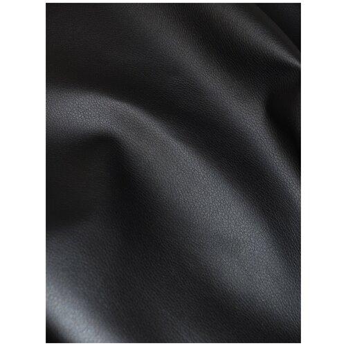 Экокожа автомобильная, искусственная кожа, гладкая - 1,4х10 м, цвет: черный