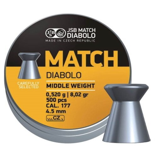 Пули JSB Yellow Match Diabolo Middle Weight 4,5 мм, 0,52 грамм, 500 штук