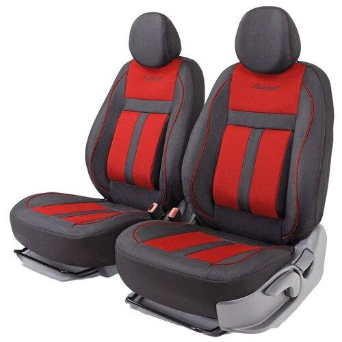 Получехлы на передние сиденья AUTOPROFI CUS-0405 BK/RD CUSHION COMFORT, эко-хлопок, 5 мм поролон, 3D крой, поясничный упор, 4 пред., чёрный/красный