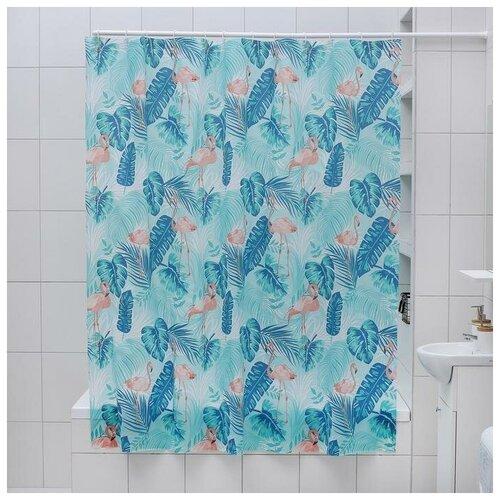 Фото - Штора для ванной Фламинго, 180х180 см, EVA 3096022 штора для ванной доляна графика 180х180 732658 синий