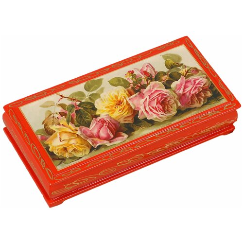Шкатулка - купюрница «Розы», красная, 8,5×17 см, лаковая миниатюра 3579610 по цене 492
