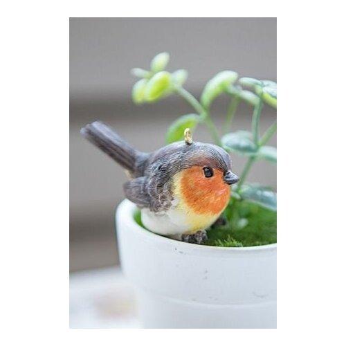 Подвеска птичка-малышка - малиновка, полистоун, 6.5х3 см, Breitner 821-814-малиновка