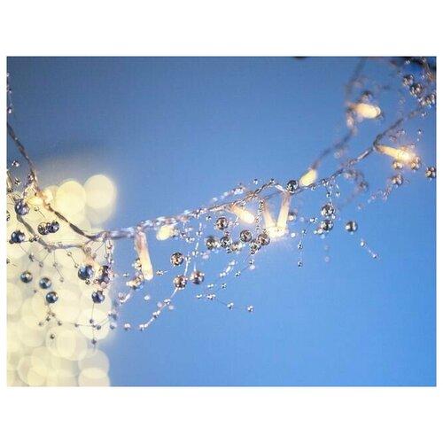 Гирлянда серебряные бусины, 20 теплых белых LED-огней, 1,2+0,3 м, прозрачный провод, батарейки, Kaemingk