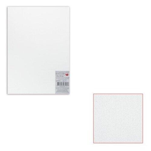 Картон белый грунтованный для живописи, 35х50 см, двусторонний, толщина 2 мм, акриловый грунт