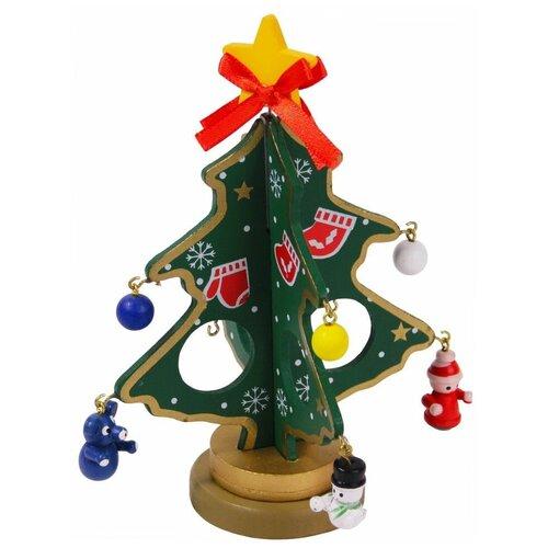 Сувенирная ёлочка фанни с бантиком, дерево, зелёная, 15 см, Breitner 03-5512